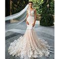 Romantic Champagne Pink Mermaid Wedding Dresses 2017 Open Back Gorgeous Appliques Robe De Mariage Bride Gown Plus Size