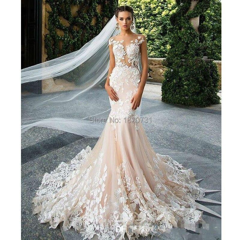 Pink Wedding Dresses 2019: Romantic Champagne Pink Mermaid Wedding Dresses 2019 Open