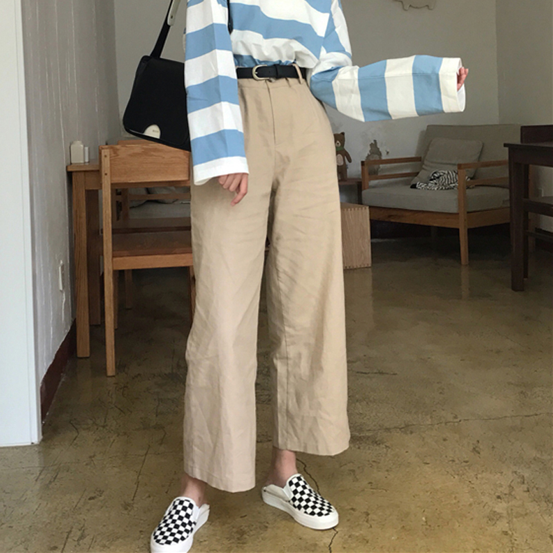 Hot Sales 2019 Summer Korean Female High Waist   Wide     Leg     Pants   Women Fashion Casual Solid Color Ankle-length   Pants