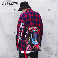 AILOOGE Plaid Dress Shirts Mens Hip Hop Shark Printed Long Sleeve Jacket Shirts Male Casual Cotton Extended Shirts Streetwear