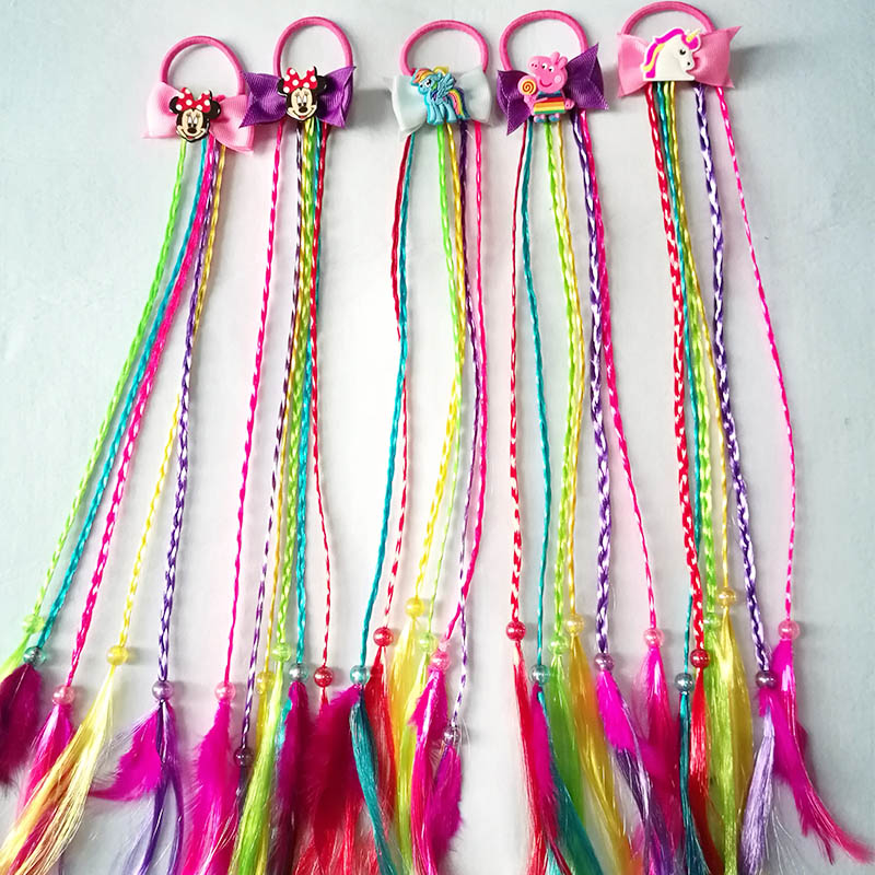 Lovely Cartoon Elastic Hair Ropes Cute Unicorn Wig Ribbon Hair  Girls Rubber Ties Hair Accessories  Hair bands Wig Decoration 12pc set elastic hair rubber band children hair unicorn headband kids hair accessories gril hair band set cute unicorn cartoon