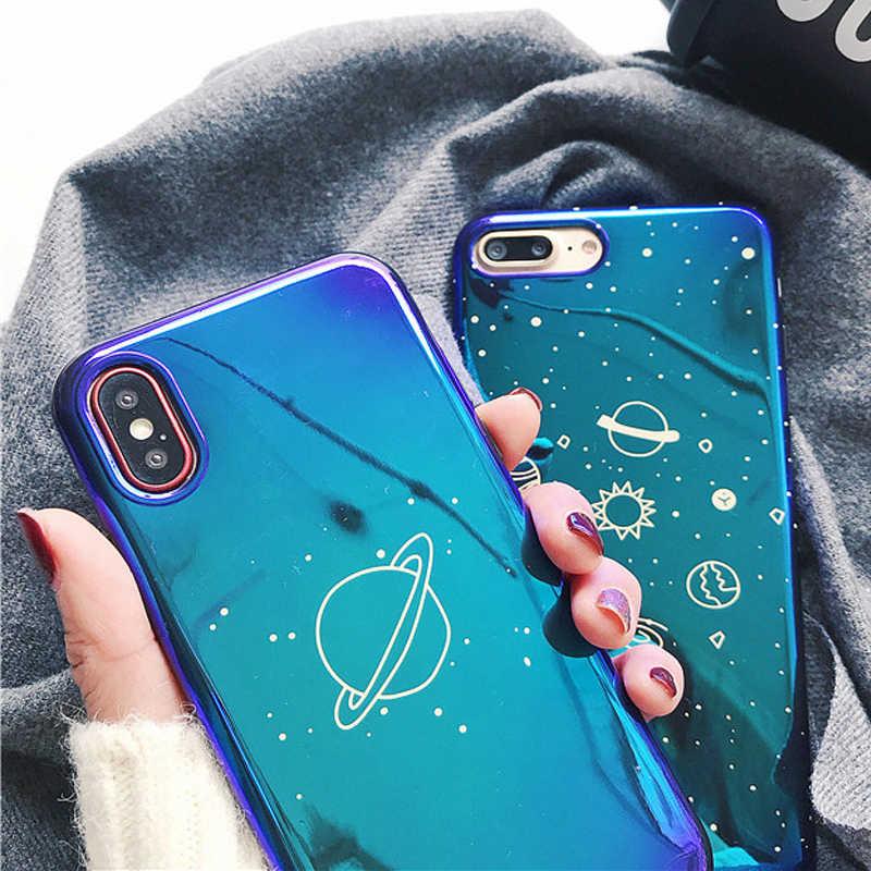 UBERAY Universe Planeet Case Voor iPhone XS XR XS Max X 8 7 6 6 S Plus Retro Blu-Ray Mode cartoon Telefoon Back Cover Cases Gift