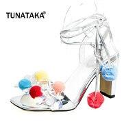 امرأة حقيقية الجلود الدانتيل يصل ارتفاع كعب سميك الصنادل أزياء زهرة اللباس أحذية المفتوحة تو الصيف امرأة أحذية عالية الكعب