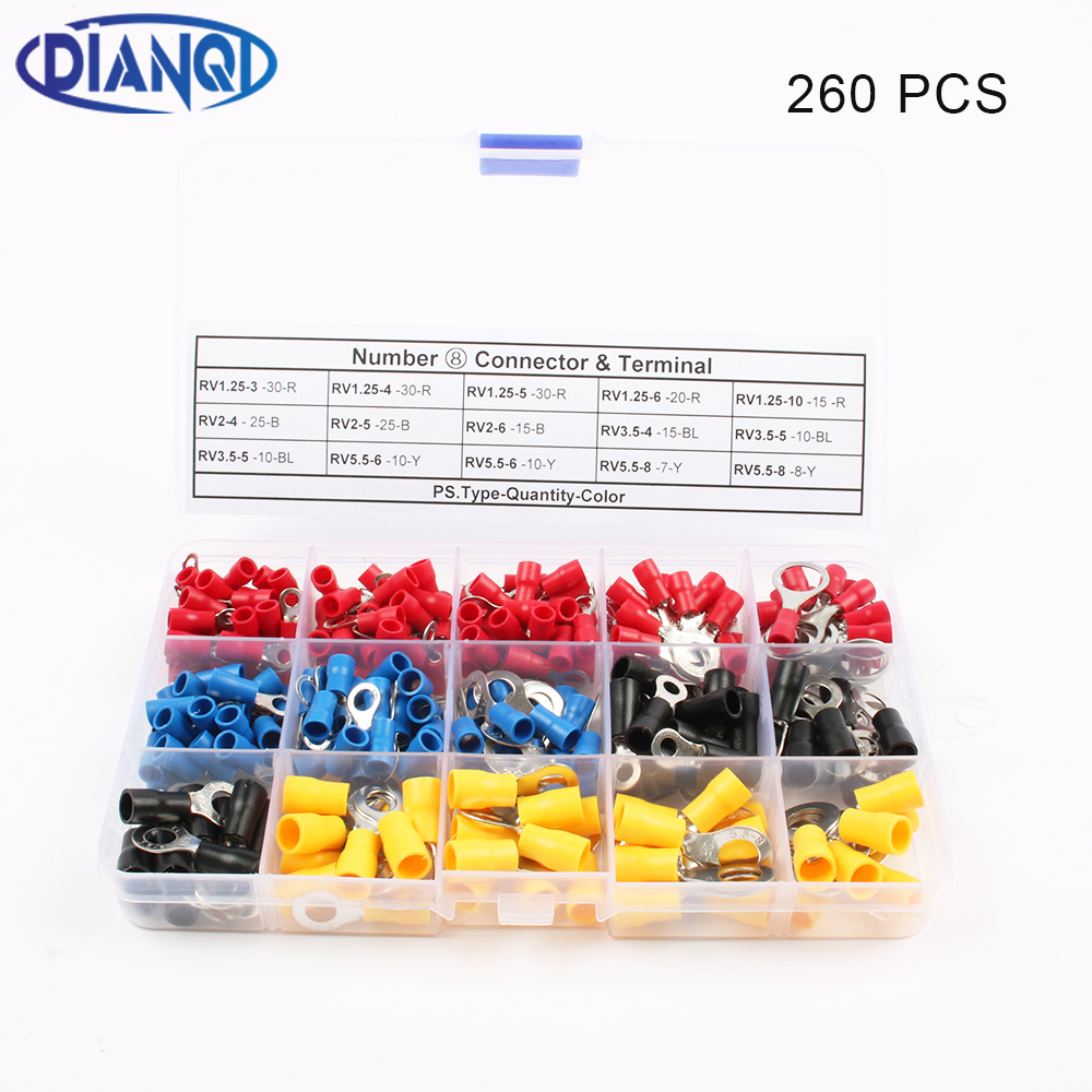 DIANQI 260Pcs/Set RV1.25 RV2 RV3.5 RV5.5 Ring insulated terminal Cable Wire Connector cable Crimp Terminal RV Set 50pcs 100pcs rv2 6 ring insulated terminal cable wire connector electrical crimp terminal