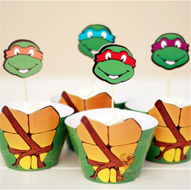 Handmade 12pcs Cupcake Wrappers12pcs Topper Teenage Mutant Ninja