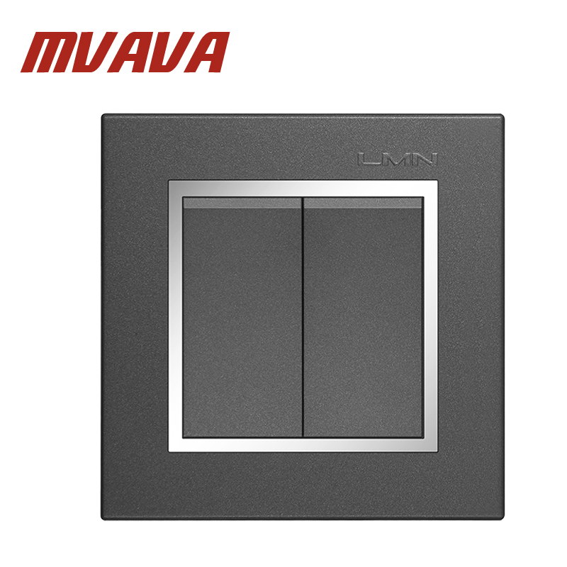 Free shipping MVAVA 16A 110~250V 220V 2 gang 1 way electrical wiring push button light wall switch chromed frame PC panel mvava push button light wall switch 3 gang 1 way 16a 250v luxury white crystal glass panel factory direct sale free shipping