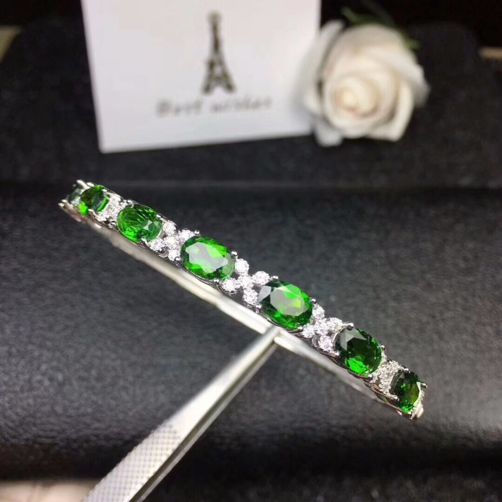 KJJEAXCMY fine jewelry 925 pure silver inlaid natural diopside Bracelet support inspectionKJJEAXCMY fine jewelry 925 pure silver inlaid natural diopside Bracelet support inspection