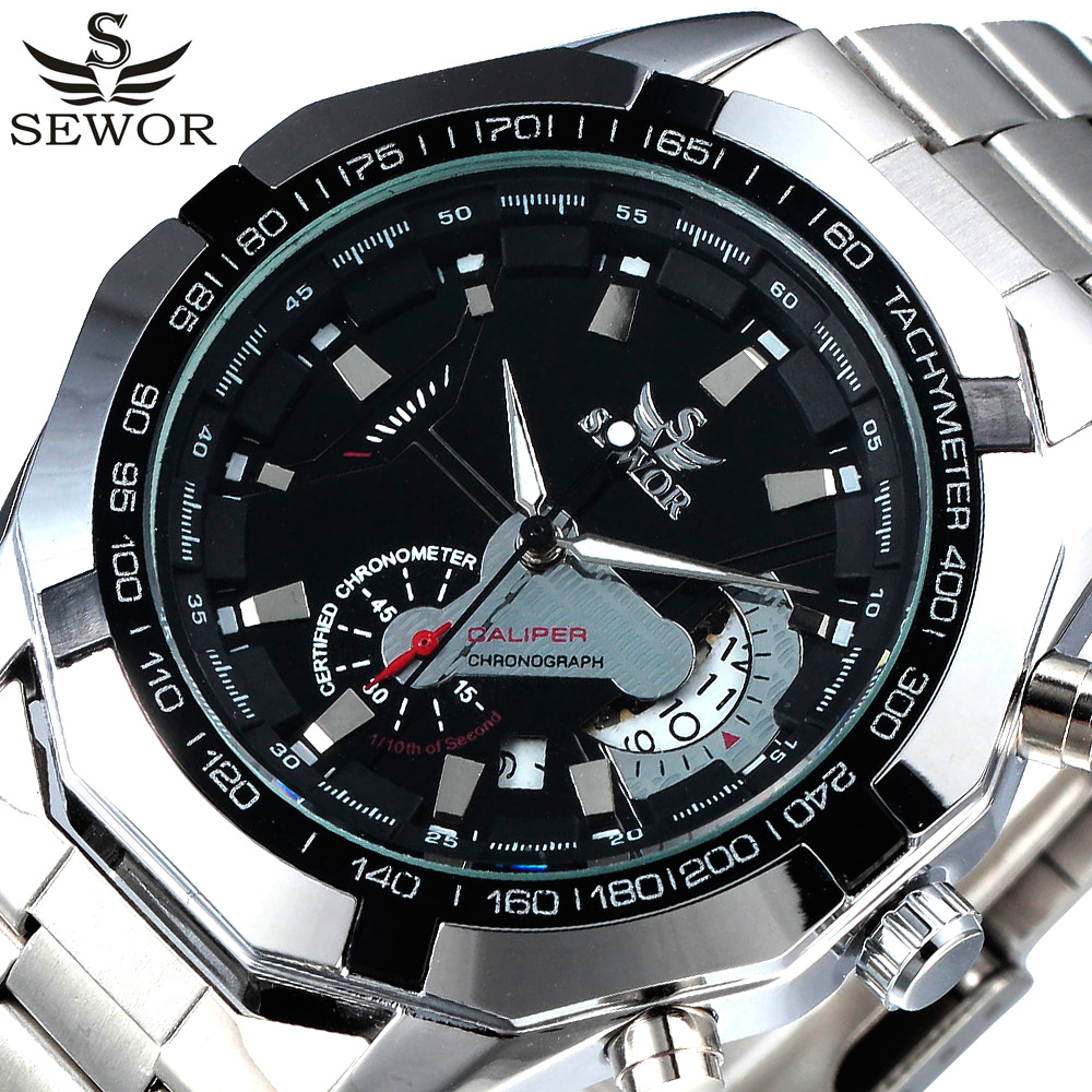 2017 SEWOR Black Luxury Brand Automatic Mechanical Watch Stainless Steel Men's Military Sport Clock Male Wrist Watches For Men shenhua brand black dial skeleton mechanical watch stainless steel strap male fashion clock automatic self wind wrist watches