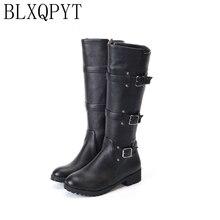 BLXQPYT/Новые осенне-зимние сапоги до колена, большие размеры 33-50 женские сапоги до бедра на молнии высокие сапоги, Bota Feminina Zapatos De Mujer H8-1F