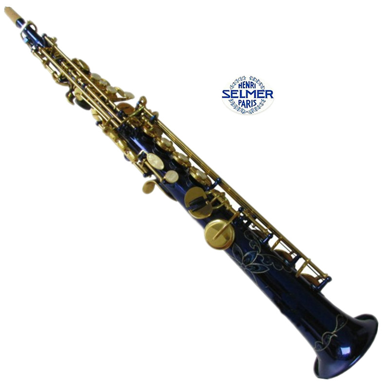 France Selmer Straight Soprano Saxophone R54 Professional blue paint B(b) Blue Sax mouthpiece With Case and Accessories brand new france henri selmer soprano saxophone 80 black nickel gold sax mouthpiece with case and accessories