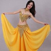 Vientre sexy traje de la danza para las señoras amarillo astilla BRA + Belt alta calidad traje elástico mujeres profesional Salón ropa n2024