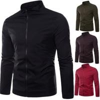 Autumn Winter Mens New Solid Color Stand Collar Outerwear Jackets Streetwear Zipper Jacket Men Coats Male Tops