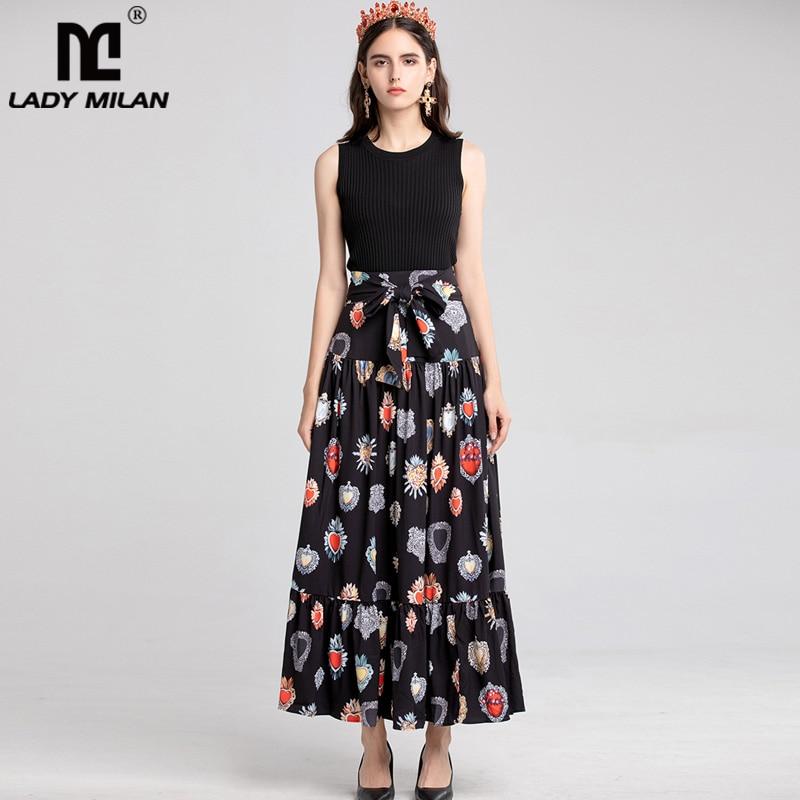 Nueva llegada faldas de pasarela de moda de calle alta elegantes con volantes fruncidos estampados para mujer-in Faldas from Ropa de mujer    1
