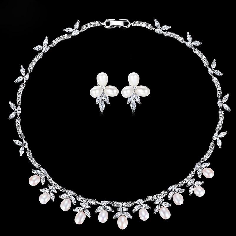 Collier de perles d'eau douce de mariage étincelantes slmariée AAA zircon cubique ensemble de bijoux de mariée CZ ensemble de demoiselles d'honneur femmes bijoux