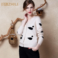 Fashion Women's Cashmere Cardigans Winter Autumn Female Outerwear Knitted Cartoon Full Sleeve Single Breasted Sweater Jacket
