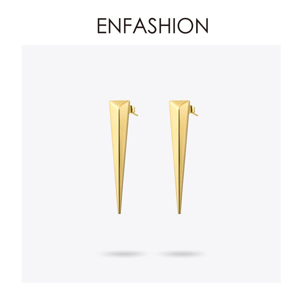 Enfashion Punk Triângulo Longo Brinco Ear Studs Rose cor do Ouro Oscila Brincos de Aço Inoxidável Brincos Para As Mulheres Jóias