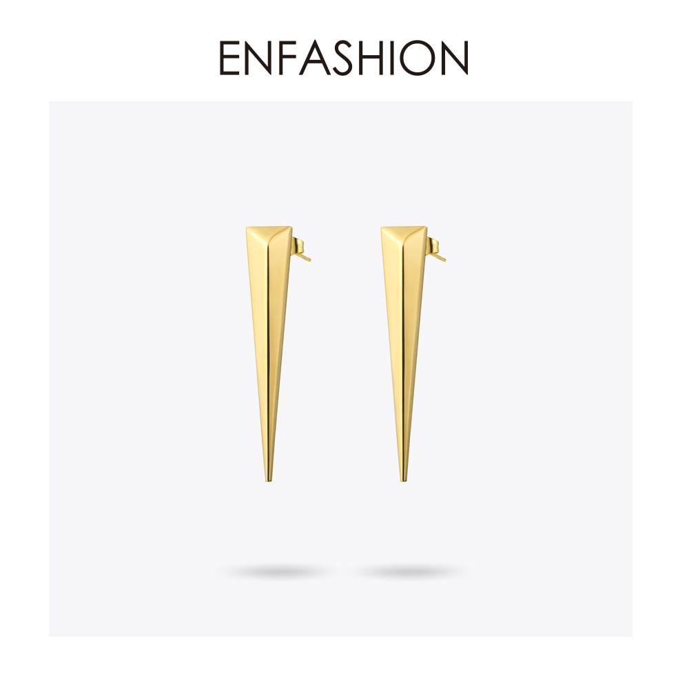 Enfashion Punk triángulo pendiente largo pendientes de botón de oro - Bisutería