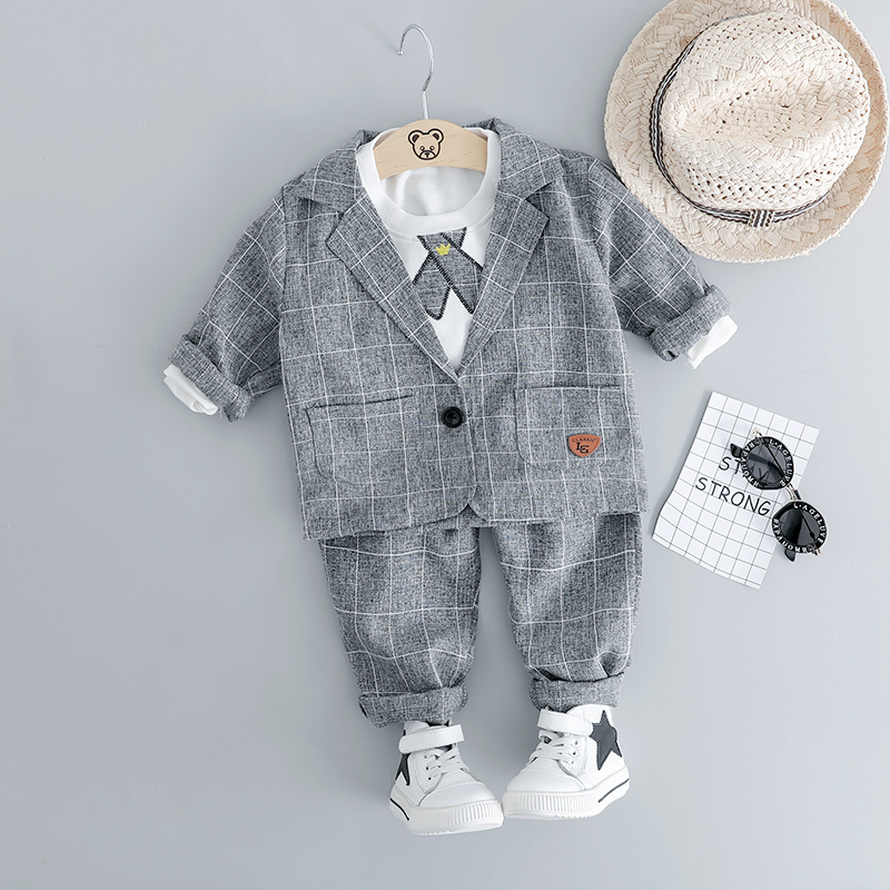 HYLKIDHUOSE 2019 Baby Boy Clothing Sets Male Children Clothes Suits Gentleman Style Infant Coats T Shirt Pants Grid Kids CostumeHYLKIDHUOSE 2019 Baby Boy Clothing Sets Male Children Clothes Suits Gentleman Style Infant Coats T Shirt Pants Grid Kids Costume