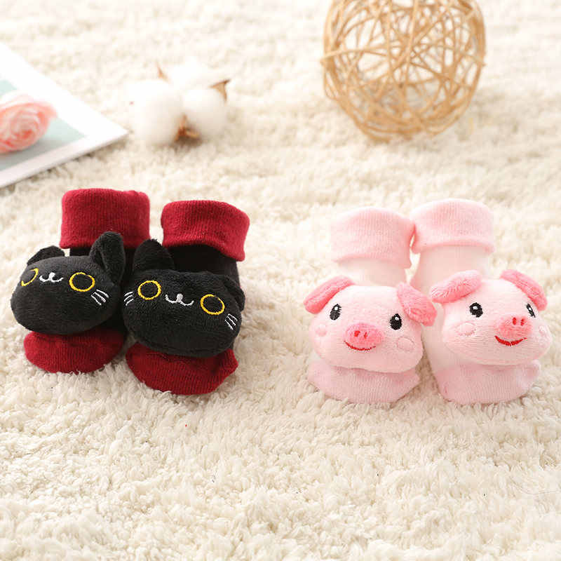 ถุงเท้าเด็กลื่นผ้าฝ้ายการ์ตูนตุ๊กตาถุงเท้า bells เด็กทารกเด็กอ่อนนุ่มน่ารักรองเท้า