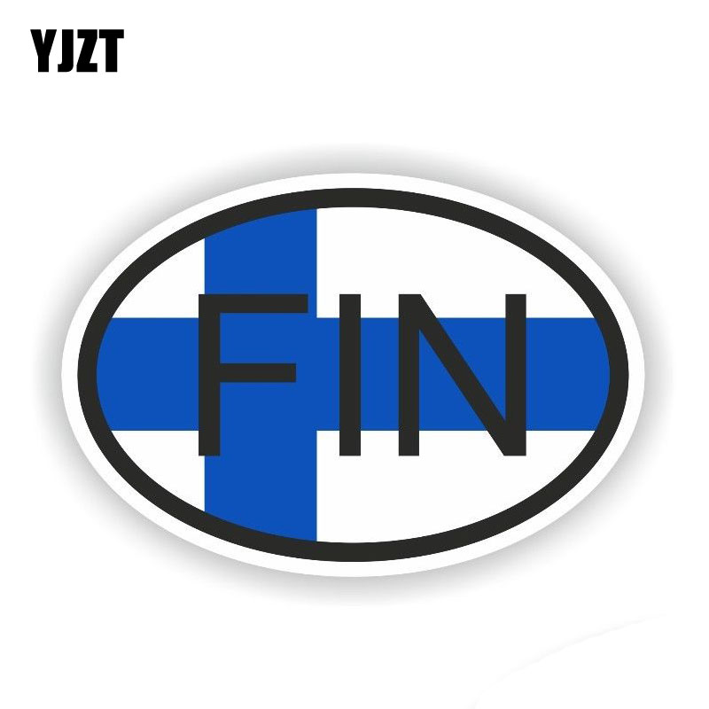YJZT 14.4CM*9.6CM Creative Finland FIN Car Sticker Funny Decal Country Code PVC 6-0385