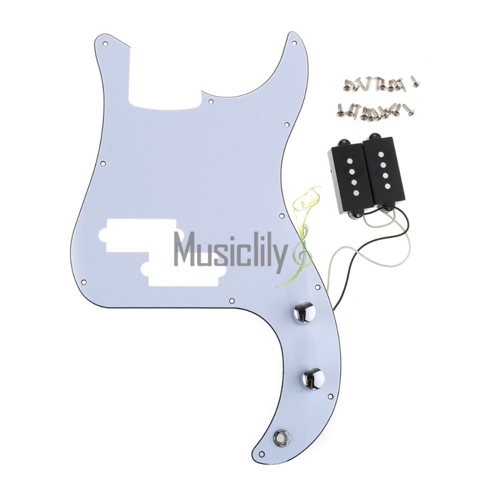Pickup Loaded Prewired Pickguard Set For PB Precision Bass Guitar musiclily 3 single coil pickup loaded pre wired sss pickguard set for fenderstrat st guitar parts