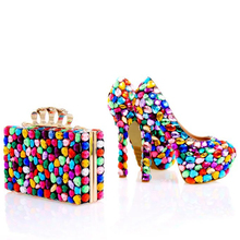 Gorgeous Design Multicolor Rhinestone Wedding Shoes with Matching Bag Women Party Prom High Heels Handmade Crystal Bridal Pumps