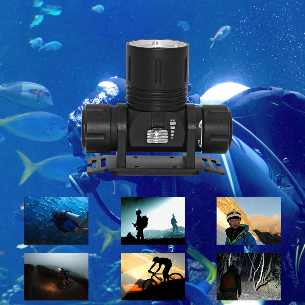 Underwater Diving Lighting Headlamp Cree XM-L2 LED Waterproof dive healight Underwater scuba light + 18650 battery + Charger