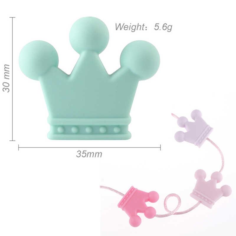 1pc coroa de silicone contas dentição do bebê brinquedos de grau alimentício silicone diy chupeta corrente pingente acessórios do bebê mordedores