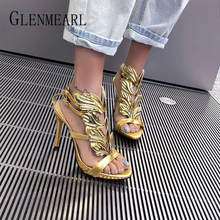 Luxury Women Sandals Summer Shoes High Heels Shiny Wing Woma