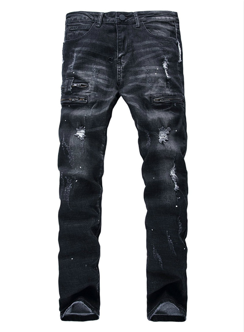 NEW Hi-Street Mens Ripped Denim Black Distressed Jeans Zipper Pants Streetwear Slim Fit Straight Biker Skinny Trousers Plus Size 2017 fashion patch jeans men slim straight denim jeans ripped trousers new famous brand biker jeans logo mens zipper jeans 604