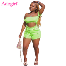 Adogirl XS-XL Fluorescent Color Knitted Two Piece Set Off Shoulder Strapless Crop Top Overalls Pockets Shorts Women Tracksuit
