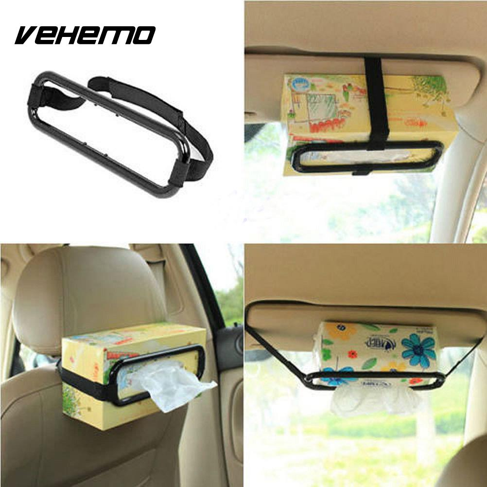 Vehemo New Fashion Useful Car Tissue Box Holder Automobile Accessories Sun Visor Clip Bracket Hung Bag Car Tool
