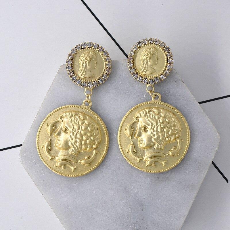 charm baroque New Earrings Beauty Head Coin  vintage korean boho bohemian earrings medusa