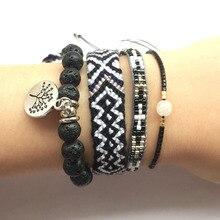 4pcs Bracelet Set Handmade Black Weave Friendship Bracelets Lava Stone Tree Pendant Bohemian Rise Beads Tiny Jewelry