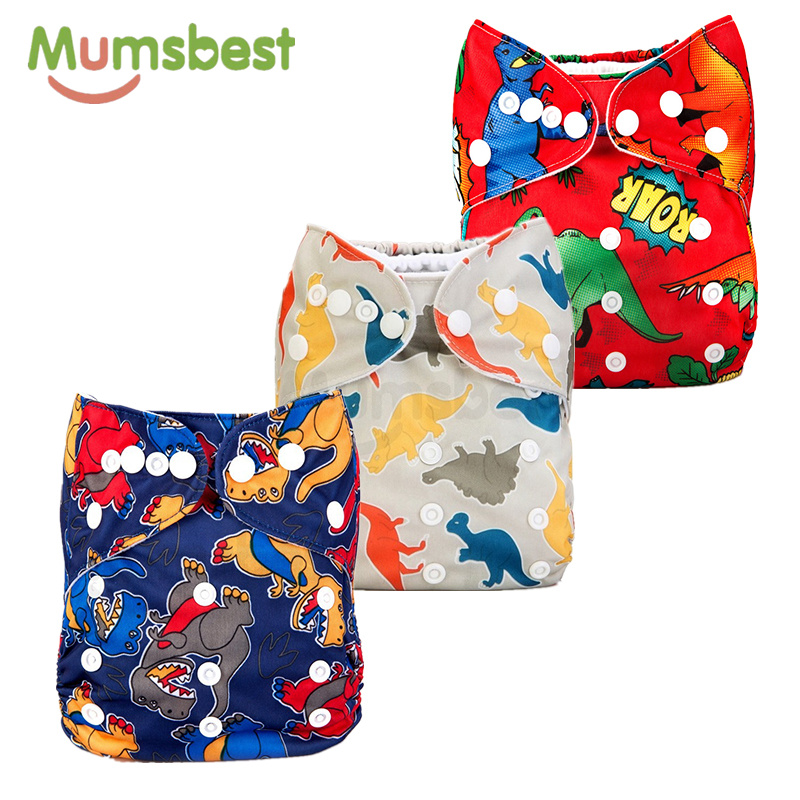 [Mumsbest] New Release 3PCS Adjustable Watertight Baby Nappy PUL Dinosaurs Diaper Covers Boy Dinosaurs Cloth Diaper Cover [mumsbest] 3pcs reusable cloth diaper cover washable waterproof baby nappy pul suit 3 15kgs adjustable boy diaper covers