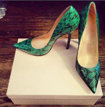 цена на Sexy Green Snakeskin Leather Pumps Women Shoes  Fashion Pointed Toe Stiletto Heel Pumps Slip-on Thin High Heels Dress Shoes