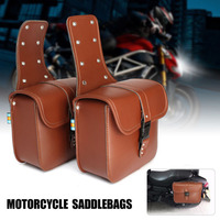 Universal Saddlebags Motorcycle Pouch Brown Leather Two Bags Saddle Bag Storage