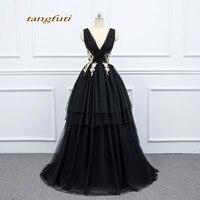 Черные вечерние платья, вечерние, длинные, трапециевидные, женские, красивые, v образный вырез, кружева, тюль, выпускной, вечернее платье для