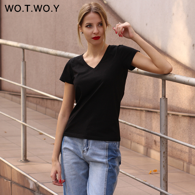 High Quality V-Neck 15 Candy Color Cotton Basic T-shirt Women Plain Simple T Shirt For Women Short Sleeve Female Tops 077 3