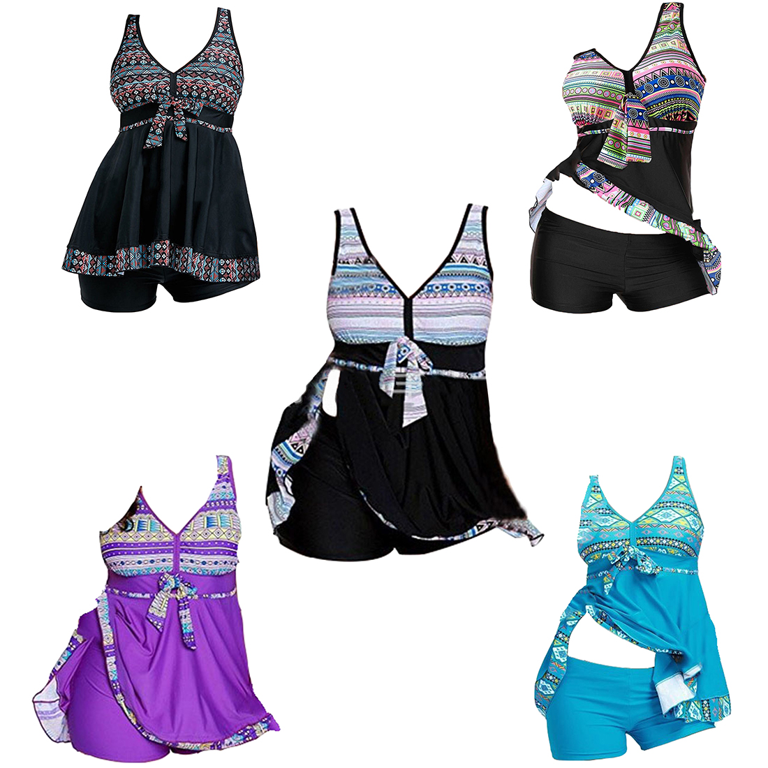 Large Size Swimwear Dress Big Two pieces Swimsuit Women With Skirt Retro Conservative Bikini Beach Female Bathing Suit Beachwear все цены