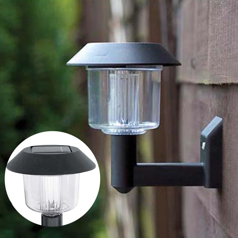 Solar Powered Wall Mount 2 Led Light Lamp Outdoor Garden Fence