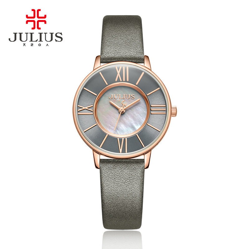 Julius Watch Women Thin Leather Wristwatch Shell dial Clock Gray RoseGold 30M Waterproof Japan Quartz Movt Stainless back JA-961 kimio japan movt diamod quartz chain watch alloy band flower round dial for lady