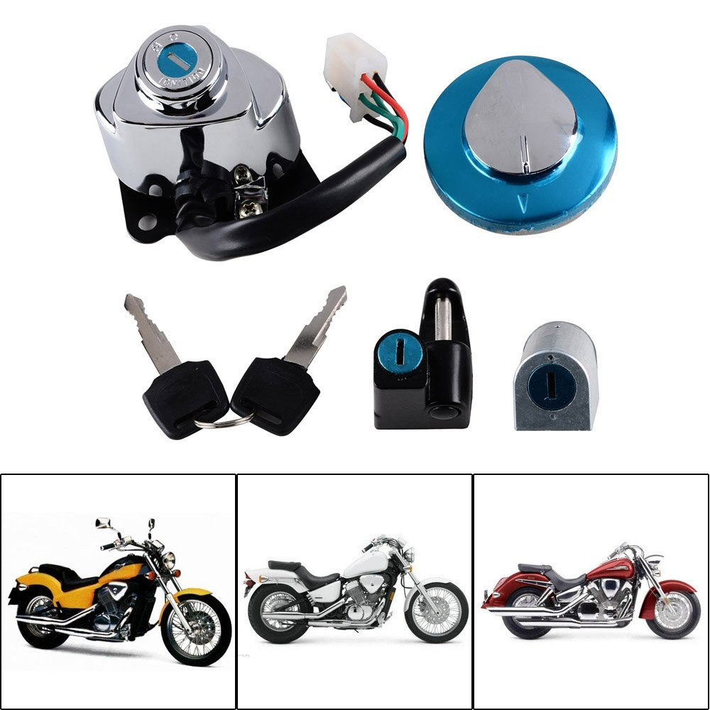 Motorcycle Ignition Switch Lock Fuel Gas Cap Key for Honda VLX 600//VT600 88-08