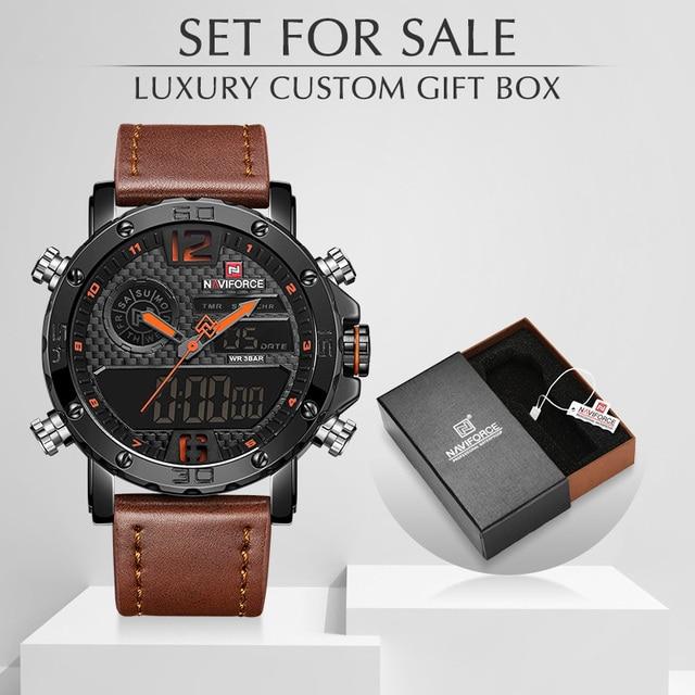 NAVIFORCE שעון גברים NF9134 צבאי ספורט קוורץ גברים של שעונים עור LED עמיד למים דיגיטלי זכר שעון סט למכירה עם תיבה