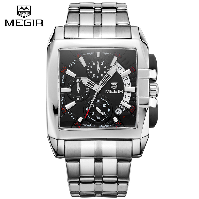 font b MEGIR b font Mens Stainless Steel 6 Hands Chronograph font b Watch b