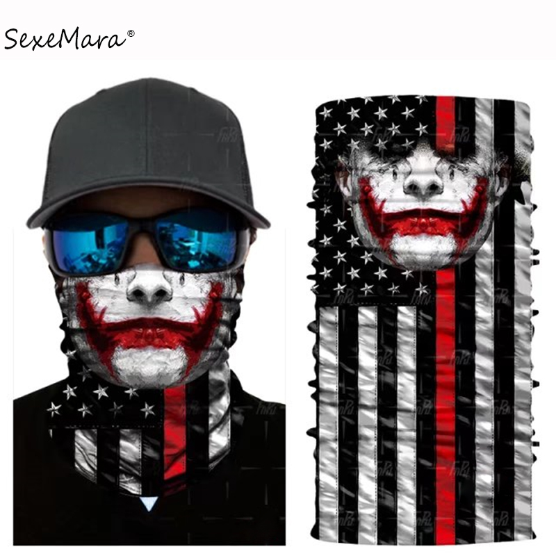 Apparel Accessories 3d Seamless Magic Headband Skull Joker Scarf Human Face Mask Magic Bandana Military Bicycle Paintball Tube Protection Headwears