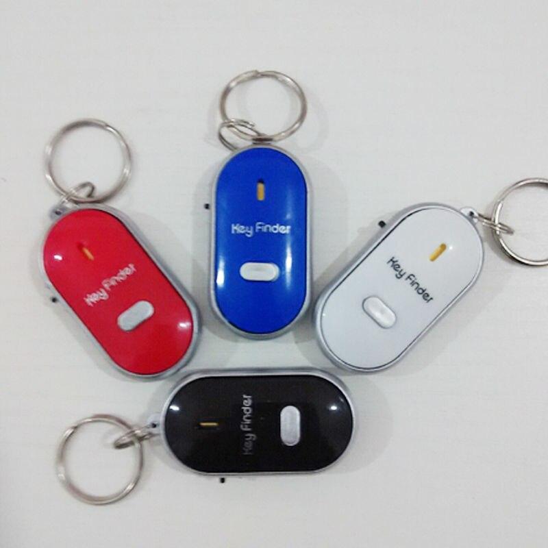 2Pcs Whistle Sound LED Sensor Flashing Light Car Keyring Key Finder Locator Mini