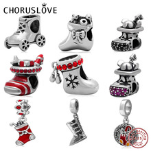 Choruslove Santa Stocking Charm Boot Bead 925 Sterling Silver Beads Fit Original Pandora Charms Christmas Gift Bracelet Jewelry цена 2017