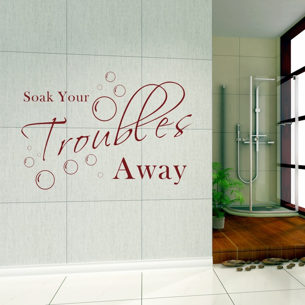 soak your trouble away home laundry bathroom wall quotes art wall stickers wall decals wall
