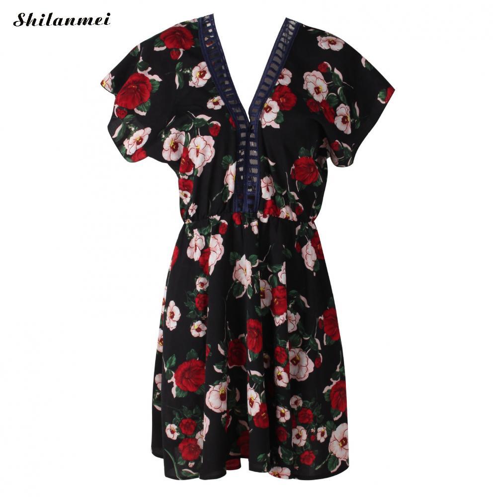 Flower And Leaf Print Summer Dress Women Boho Ruffles Short Sleeve V Neck Black Dress A Line Backless Casual Mini Dresses Robe